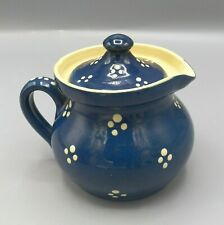 Alsace French Country Soufflenheim Milk Pot Pitcher Blue Cream Points Vintage
