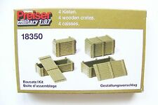 HO Preiser Military UNPAINTED KIT Four Supply Crates # 18350