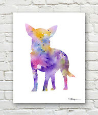 CHIHUAHUA 2 Contemporary Watercolor ART Print by Artist DJR