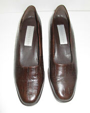 BANDOLINO Womens Dark Brown Leather Slip On Heels Reptile Pattern Size 8.5 M