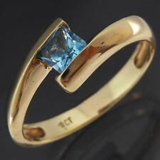 Low Everyday Bypass Style Solid 9k YELLOW GOLD SQUARE BLUE ZIRCON RING Sz N1/2