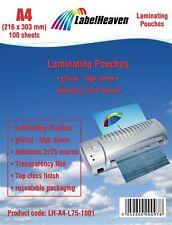 100 Pochettes de Plastification Format A4 Taille 216 x 303 mm