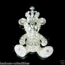 Teddy Bear~ made with Swarovski Crystal Princess Crown Cross Pin Brooch Jewelry