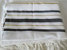 Tallit Gadol Tallis Talit BLACK & GOLD Stripes Kosher Made in Israel BIG Size