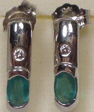 ASHER WOMEN'S 14 K WHITE GOLD EMERALDS/DIAMONDS EARRINGS/STUDS