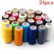 200m Spools 24 Colors Cotton Thread Reel Cord Set For Hand Sewing Machine b  U1