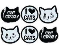 Mini Cat Magnets (Set of 6) - Cat Crazy, Love Cats, Cat Face - Car, Refrigerator