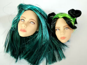 """Lot of 2 Doll Head Replacement for 10.5"""" Billie Eilish Doll BIN"""