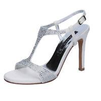 scarpe donna ALBANO 39 EU sandali bianco seta swarovski BT463-39 140666a31b9