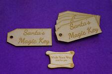 MDF Luggage Tag Squared Santa's Magic Key 4x9cm/40x90mm x 3mm - 6 x laser cut
