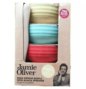 JAMIE OLIVER Terracotta DIPPING BOWLS WOOD SPREADER BOXED Dip Tapas Bowls As NEW