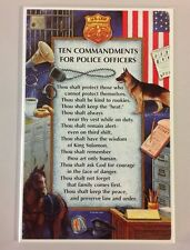 "TEN COMMANDMENTS FOR POLICE OFFICERS WALL HANGING 14""  PLAQUE PICTURE DECOR GIFT"