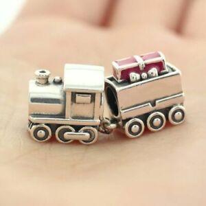 925 Silver Red Enamel Christmas train xmas charm fits european bracelet+gift box