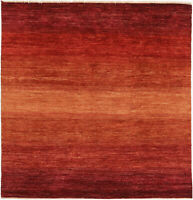6X6 Hand-Knotted Gabbeh Carpet Tribal Red Fine Wool Square Rug D30366