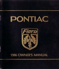 1986 Pontiac Fiero Owners Manual User Guide Reference Operator Book Fuses Fluids