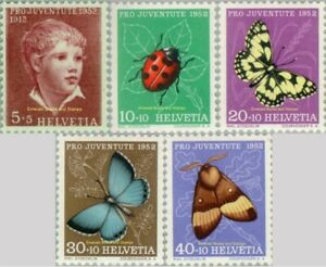"""EBS Switzerland Helvetia 1952 Pro Juventute: """"Boy"""" (Anker) Insects 575-579 MNH**"""