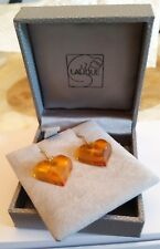 EARRINGS LALIQUE CRYSTAL AMBER EARRING PIERCED SUPERB COLOUR NEW IN BOX