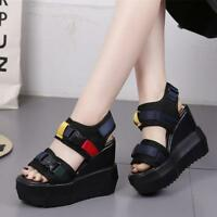 Womens Strap Buckle Sport Sandals Platform Wedge Sneakers High Heels Shoes size
