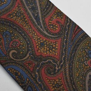 John Clarendon Silk Neck Tie Red Blue Brown Paisley Tie Made in USA