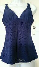 Jacklyn Smith Blue Swimsuit Wrap Bathing Suit Tankini Top New Sz. 10 M Crochet