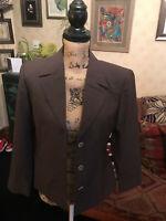 GUCCI Italy Ladies Vintage Brown Wool Silk Tailored Blazer Jacket Italy 42 UK 10