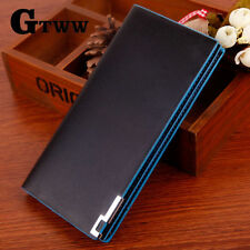 Men's Leather Wallets Bifold Long Clutch Credit Card Coin Holder Blue Purse US