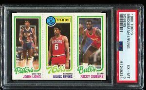 1980 Topps Basketball 1 49 88 LONG,ERVING,SOBERS Philadelphia 76ers PSA 6 EX-MT