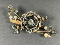 Vintage Brooch - Gold Tone with Black Flowers and Rhinestones - Excellent