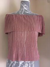 Ladies Blush Pink Pleated Off The Shoulder Bardot Top Blouse Primark Size 10-12