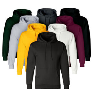 Men Plain Hooded Sweatshirt Solid Casual Winter Hoodies Jumper Pullover Jacket