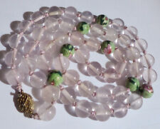 Double Knotted Cloisonne Silver Clasp Chinese Rose Quartz Bead Necklace