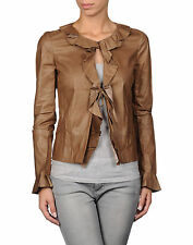 New Jil Sander Leather Jacket 34FR 4 Brown Blazer w/Ruffle