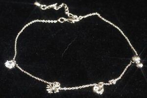 14K White Gold GF Crown Charm Slim Chain Anklet 25 - 29cm