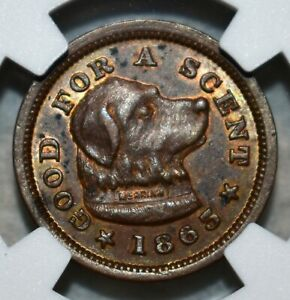 NGC AU-58 BN Jos. H. Merriam/Good For A Scent Dog Civil War Token, MA-115E-1a!