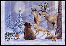 613-GC BEAR DEER FOX RABBIT SQUIRREL Unused Christmas Greeting Card