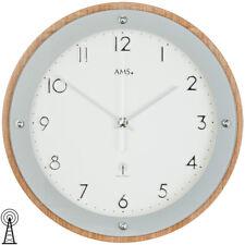 AMS Wanduhr Funk Funkuhr Holz Mineralglas beige silber weiß 29 cm modern neu