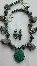 Beautiful Chunky Druzy Agate, Hematite and Turquoise Necklace/Earrings Set