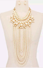 Long Pearl Choker Bib Statement Necklace Beaded Multi Row Layered Chunky Strand