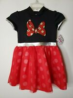 Disney Minnie Mouse Girls Cos Play Dress with Hoodie Size Small 6-6x Red Black