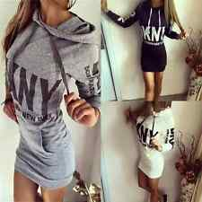 New Womens Long Sleeve Jumper Hoodies Dress Casual Sweatshirt Hooded Tops Shirt