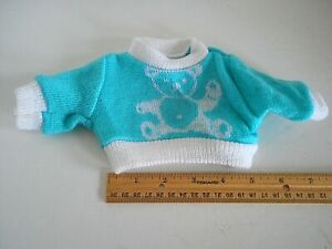 Teddy Bear Turq. Blue and White Knit Sweater by Purzel Modern for Teddy Bear