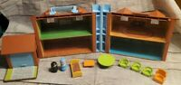 Vintage Fisher Price Little People  TUDOR FAMILY HOUSE w Accessories
