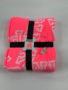 Victoria's Secret PINK Fleece Blanket Neon Pink And White Logo 50x60 NWT