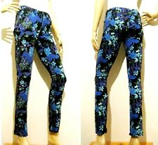 CUE in the CITY size 6 slim / skinny floral patterned stretch PANTS with pockets