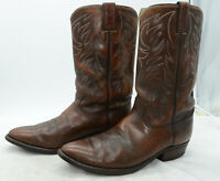 Justin USA Western Cowboy Leather Brown Work Biker Riding Boots Mens Sz 10