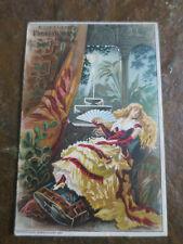 Victorian Trade Card Murray Lanman Florida Water Lady Fan Blond Hair