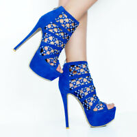 NICE Women Sandals Rhinestone Peep Toe Stiletto Heels Blue Shoes Plus Size 4-20