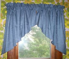 "VALANCE 36"" window Rayon Polyester Lined Solid Blue Dorm Curtain"