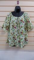 LADIES TOP FLORAL SIZE 10/12 BOHO CASUAL TUNIC STYLE SUMMER BNWT