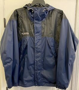 Columbia Mens XL Omni Tech Core Interchange Hooded Coat Navy/Black EUC